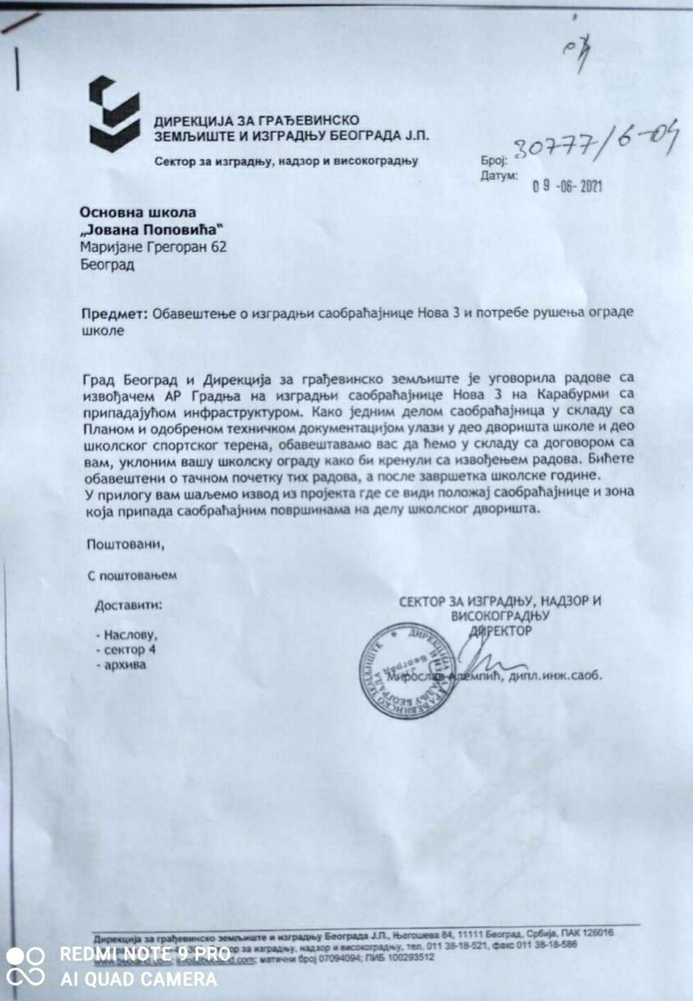 Dopis Direkcije školi